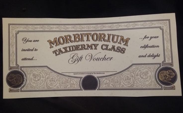 Taxidermy class gift voucher