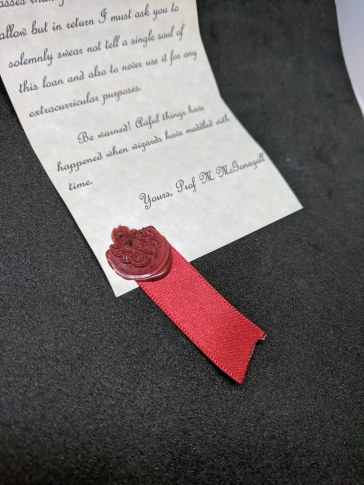 A close-up of McGonagall's letter to Hermione